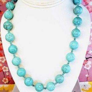 Turquoise round blue silver statement necklace